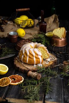 Homemade lemon bundt cake