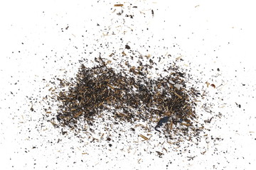 Metal shavings, scraps pile isolated on white background, texture, top view