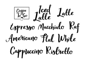 Coffee types calligraphic set. Handwritten typographic collection.