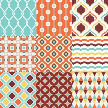 abstract retro stylish seamless geometric cushion pattern