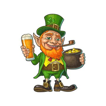 Leprechaun holding beer glass and pot of gold coins. Vector illustration.