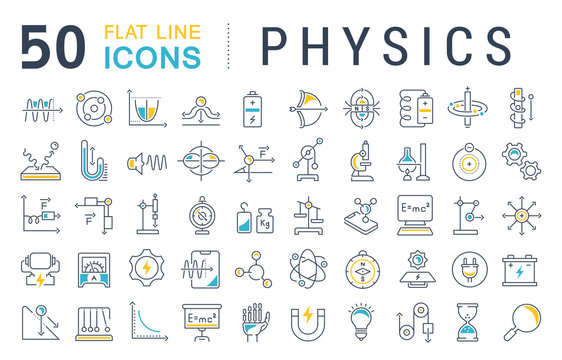 Set Vector Line Icons of Physics.