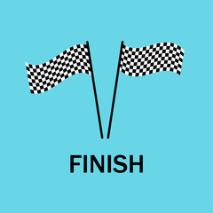 Flags finish. The end of race. End competitions. Sport. Championship emblem. Flat design. EPS 10.