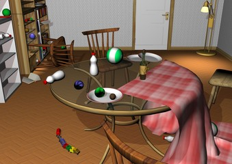 messy room, glass table with upturned baby bottles, toys and plates, chairs lying around 3D illustration