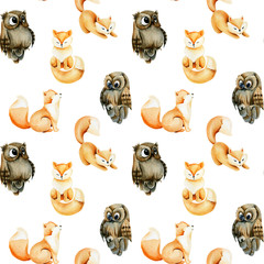 Seamless pattern of watercolor cute foxes and owls, hand drawn on a white background