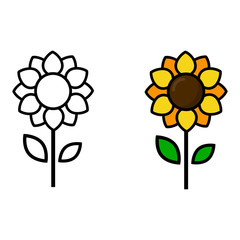 cartoon cute sunflower vector outline and colored