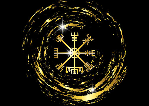 Decoding the ancient of the symbols Norsemen. Vegvisir Viking Golden Compass. The Vikings used many symbols in accordance to Norse mythology,  widely used in Viking society. Logo icon Wiccan esoteric