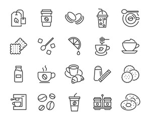 set of coffee break icons, such as tea, drink, cocoa, cup