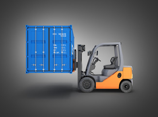 Forklift handling the cargo shipping container side view isolated on black gradient background 3d render