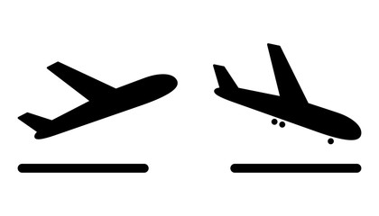 airport plane arrival and departure icons