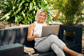 Freelancer Woman Work by Laptop on Vacation
