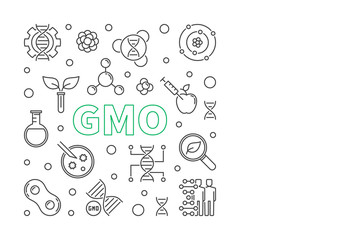 Vector GMO concept minimal square banner in thin line style on white background