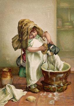 Girl Baths Dog C1895
