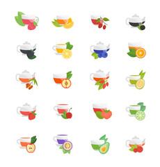 Set Vector Flat Icons of Tea.