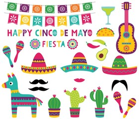 Cinco de Mayo party set (banner, sombreros, pinata, cacti, a guitar)