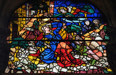 Printed kitchen splashbacks Historical buildings The Annunciation to Joachim, stained glass window in Orsanmichele Church in Florence, Tuscany, Italy
