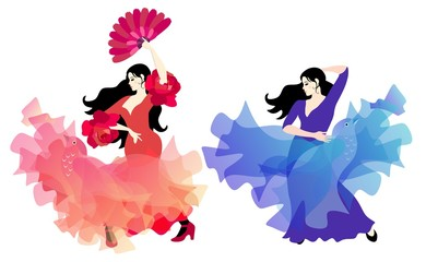 Spanish flamenco dancer in red dress, whose hem soars like bird, and gypsy girl in lilac-blue dress with shawl like a magic bird, isolated on a white background.