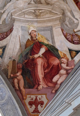 Virtue Ecclesia, fresco by Bernardino Poccetti Ospedale degli Innocenti - Exterior arcade, Florence, Italy