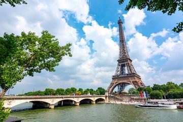 Eiffel Tower and Pont d'Iéna bridge, Paris, France