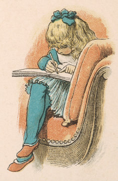 Girl Writes in Chair
