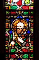 Catholic Saint, stained glass window in the Basilica di Santa Croce (Basilica of the Holy Cross) - famous Franciscan church in Florence, Italy