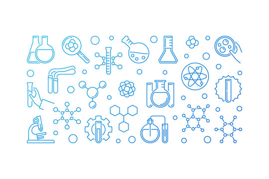Chemistry Education blue concept outline horizontal banner. Vector chemical modern illustration on white background