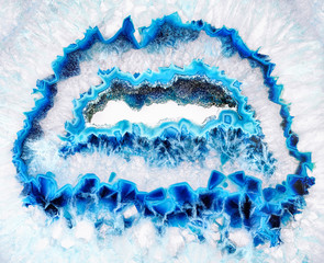 Fotobehang Kristallen Amazing Blue Agate Crystal cross section isolated on white background. Natural translucent agate crystal surface, Blue abstract structure slice mineral stone macro closeup