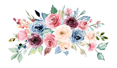 Flowers watercolor border. Pink, burgundy and indigo peonies. Floral summer arrangement for printing  invitations, greeting cards, wall art, stickers and other. Isolated on white. Hand painted.