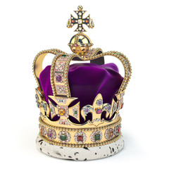 Golden crown with jewels isolated on white. English royal symbol of UK monarchy.