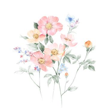 Elegant watercolor hand painted flower
