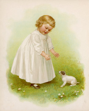 Girl and Puppy C1890