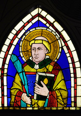 Saint Deacon the Martyr, stained-glass window designed by Giotto di Bondone, Basilica di Santa Croce in Florence, Italy