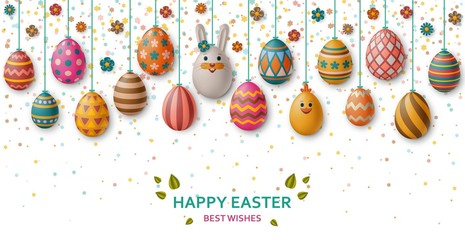 Cute Easter background with white bunny, chicken, eggs and flowers. Vector illustration.