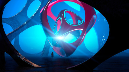 Fantasy landscape, extraterrestrial structure, darkness, light, sun, man in backlight in a science fiction landscape, large luminous object. Alien sculpture, entity and sensory presence. 3d rendering