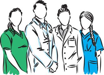 medical staff doctor nurse vector illustration