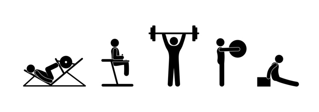 Sports shells set of icons. Stick figure people in the gym. Pictogram man bodybuilder. Barbell, fitball and simulators illustration.