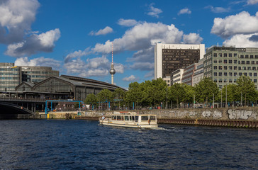 Berlin, Germany - the Spree river is the main river in Berlin, and it's used by many companies to organize cruises and sightseen tours of the Old Town