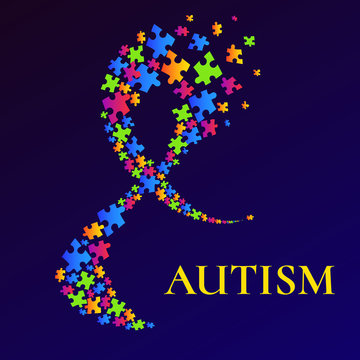 Autism awareness poster with a ribbon made of puzzle pieces. Social interaction and communication disorder concept. Solidarity and support symbol on blue background. Vector illustration.