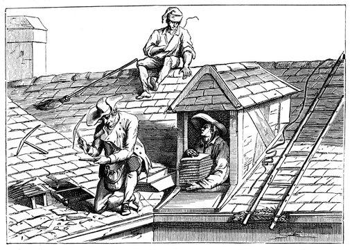 3 Men Tile a Roof