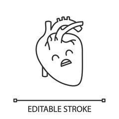 Sad human heart anatomy linear icon