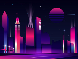 Night city silhouette in neon glowing colors