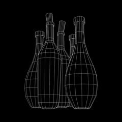 Different wine bottles. Model wireframe low poly mesh vector illustration