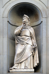 Francesco Petrarca in the Niches of the Uffizi Colonnade. The first half of the 19th Century they were occupied by 28 statues of famous people in Florence, Italy
