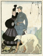 Cartoon, French Soldier and His Mother, Ww1
