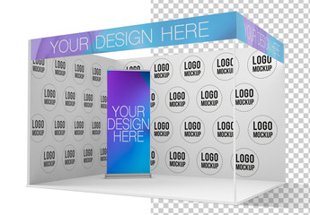 Exhibition Stand with a Roll Up Mockup