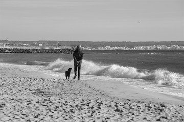 Palma de Mallorca - The beach of the city and and the man at the rest with the dog.