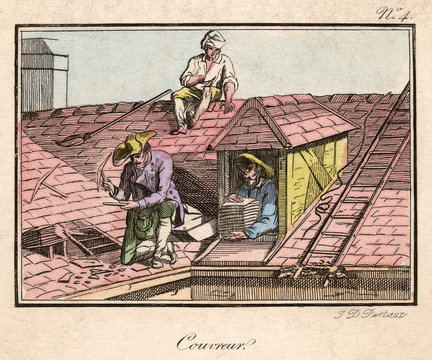 Workers Repair a Roof