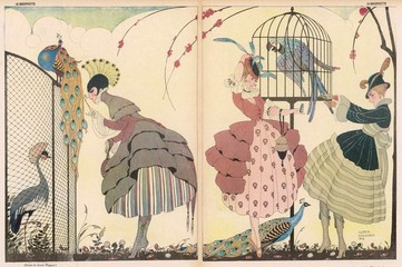 Cartoon, French Women, Peacocks and Parrot, Ww1