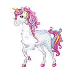 Vector cartoon beautiful unicorn with rainbow mane on white background. Children's illustration. Magic. Wonderland.