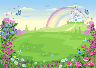 Fairytale background with a flower meadow and a castle. Wonderland. Vector cartoon illustration. Children's theme.